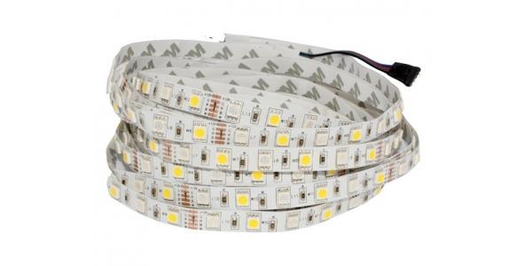 Tira RGB + Luz Cálida 14.4W x mt. 12VDC. Interior 5mt. (60LEDs x m)