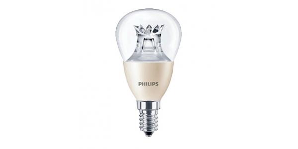 Bombilla LED Philips Esférica E14 6W 360º - 2700k Regulable