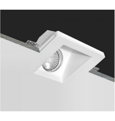 Foco Yeso Cuadrado LED Interior Samba. Sistema Bombilla GU10
