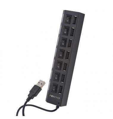 Adaptador concentrador USB con 7 puertos USB. Forever. Negro