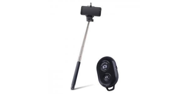Palo Selfie Bluetooth con mando. Forever. Nego