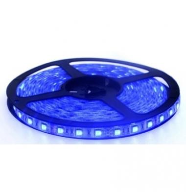 Tira LED Azul 14,4W/m. 12VDC, SMD5050. Carrete 5 metros. 60 LEDs/m. Interior - Espacios Húmedos - IP55