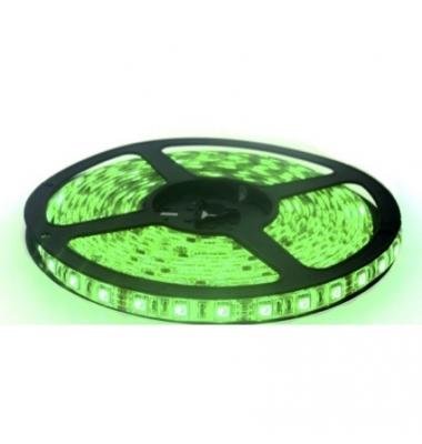 Tira LED Verde 14,4W/m. 12VDC, SMD5050. Carrete 5 metros. 60 LEDs/m. Interior - Espacios Húmedos - IP55