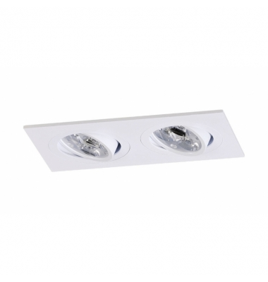 Foco Empotrable Basculante 2 luces, IP20, Spot, Blanco Mate. Para Bombillas LED GU10 y MR16
