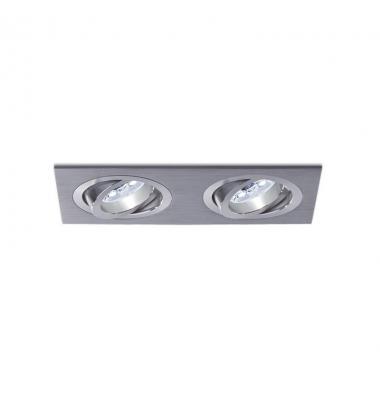 Foco empotrable 2 luces Aluminio. Spot. Sistema LED GU10 y MR16