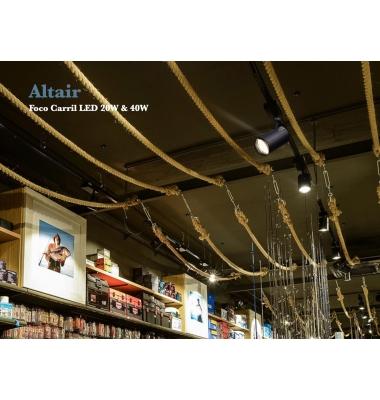 Foco Carril Altair, Blanco Mate, LED Citizen 20W. 3 encendidos, Electrónica Tridonic, Ángulo 24º