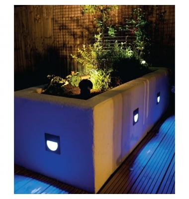 Baliza LED Empotrar Cuadrada Pared. 1.4W Interior-Exterior. Luz Fría. Carpio