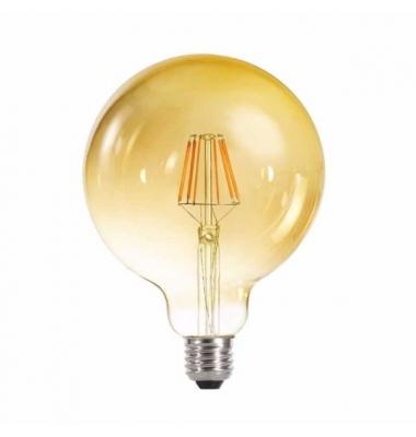 Bombilla LED Filamento Gold G125 E27 4W. Blanco Cálido. 2200k. Ángulo 360º