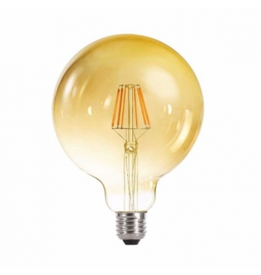 Bombilla LED Regulable Filamento Gold G125 E27 6W. Blanco Cálido. 2700k. Ángulo 360º
