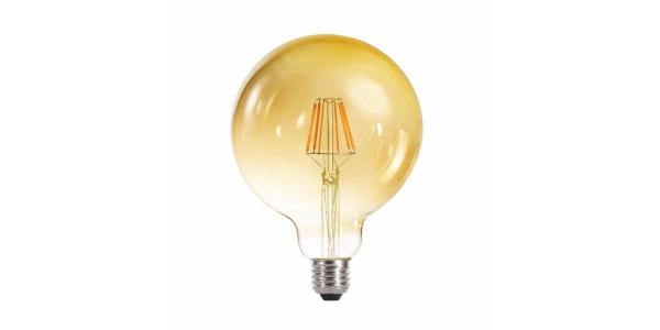 Bombilla LED Regulable Filamento Gold, E27, G125, 6W, 2700k, Blanco Cálido, Ángulo 360º