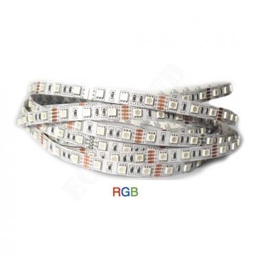 Tira RGB 14.4W x metro. 12VDC. SMD5050. Rollo 5 metros. 60 LEDs/metro. Uso Interior - IP20