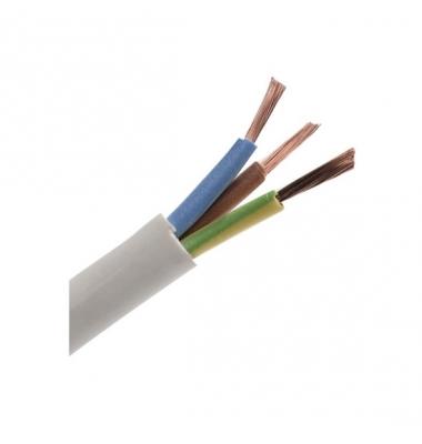 Cable Manguera Redonda Blanca. 3 x 1.5mm. 1 Metro