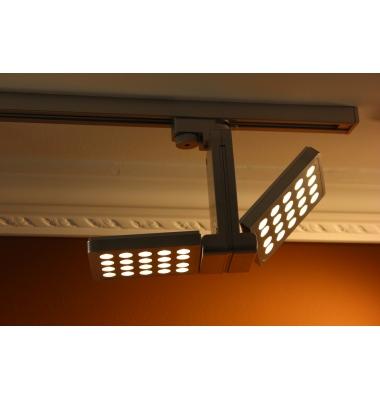 Foco Carril Orientable Monofásico, Ra, Plata, LED 14W, Ángulo 45º