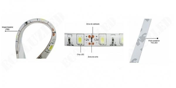 Características. Tira LED 14.4W/m 12VDC Flexible 5m (60 LEDs/m) SMD5050