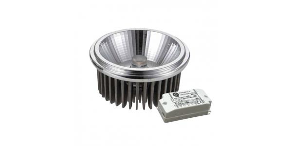 Bombilla LED AR111 18W COB 220V. Blanco Cálido. Ángulo 120º . 2100 Lm. Acabado Aluminio