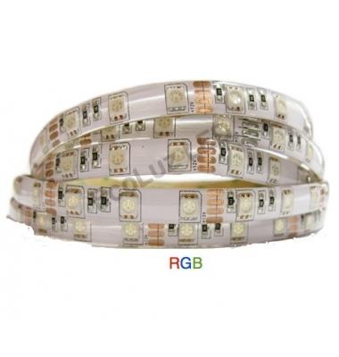 Tira RGB 14.4W x mt. 12VDC. IP20. 5 metros. (60 LED x m) SMD5050