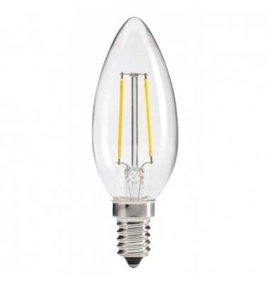 Bombilla Vela Filamento Regulable B35 E14 Transparente 2W. Luz Cálida