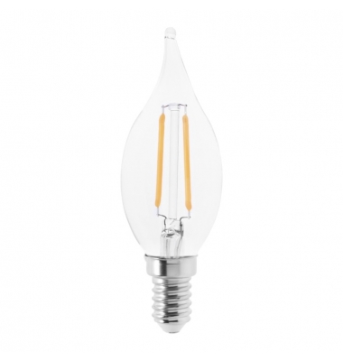 Bombilla Filamento Vela Lujo Regulable C35 Transparente E14 2W. Luz Cálida