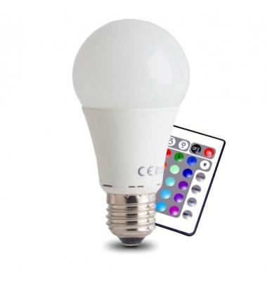 Bombilla LED E27, 12W, RGB + Blanco Cálido. Ángulo 270º, Con Mando a Distancia