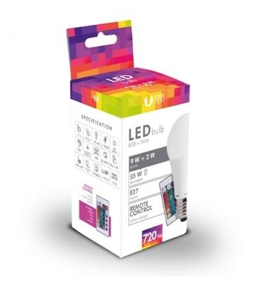 Bombilla LED E27 A60 3W RGB + 9W Blanco Cálido. Ángulo 270º