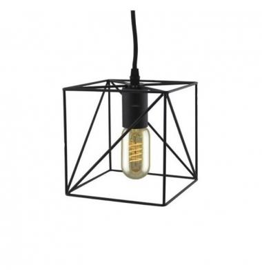 Colgante Vintage Cube Negro E27. Incluye Bombilla Filamento 6W