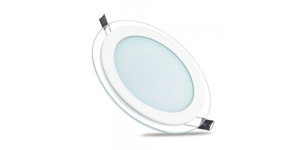 Foco Panel Cristal LED Redondo 6W. 450 Lm. Ángulo 120º