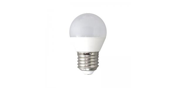 Bombilla LED E27, G45, Esférica, 6W. 4500k, Blanco Natural. Ángulo 160º