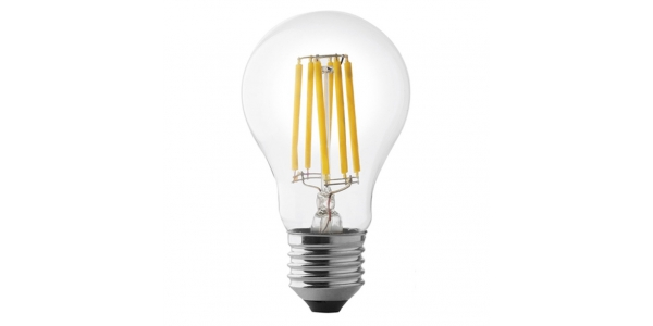 Bombilla LED Filamento. E27, A60, 6W. 4000k, Blanco Natural, Ángulo 360º