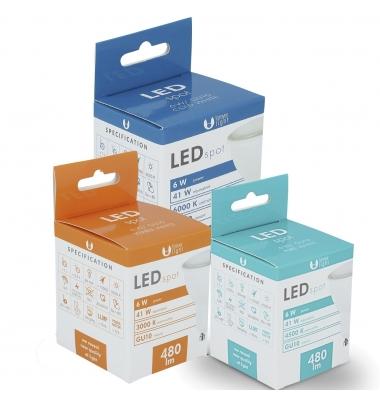 Bombilla LED GU10 6W. 480 Lm. Blanco Cálido. Ángulo 120º