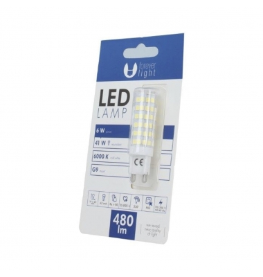 Bombilla LED G9 6W. Ángulo 360º. 480 Lm. Blanco Frío