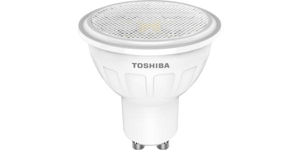 Bombilla LED Toshiba GU10 5.5W Blanco Cálido. 450 Lm. Ángulo 100º.