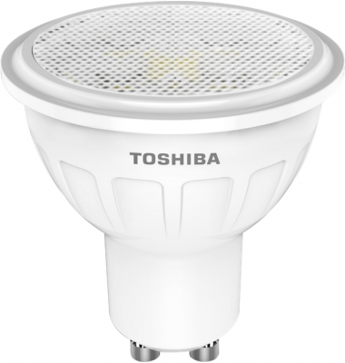 Bombilla LED Toshiba GU10 5W Blanco Cálido. 350 Lm. Ángulo 60º