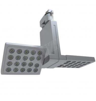 Foco Carril LED Ra Plata 14W. 1100 LM. Ángulo 45º