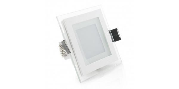 Foco Panel Cristal LED Cuadrado 6W. 450 Lm. Ángulo 120º