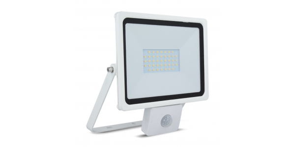 Foco Proyector LED HOME 30W IP65. Con Detector Movimiento PIR. Blanco Frío