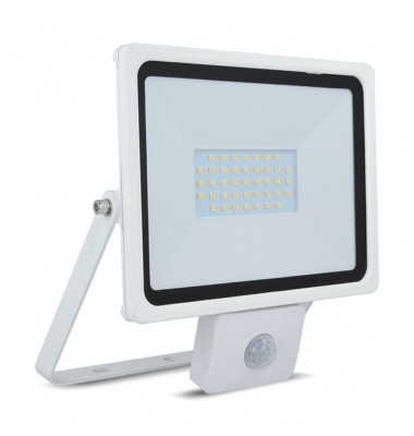 Foco Proyector LED HOME 30W IP65. Con Detector Movimiento PIR. Blanco Cálido