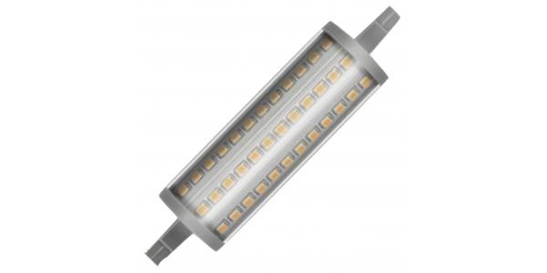 Bombilla LED R7s 15W 118mm. Regulable. 2000 Lm. Blanco Cálido. Ángulo 300º