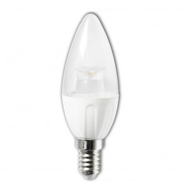 Bombilla LED E14, C37, Vela Transparente, 4W, 6400k, Blanco Frío, Ángulo 280º