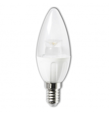 Bombilla LED Vela E14 C37 5W Transparente. Ángulo 280º. Blanco Cálido y Blanco Frío.