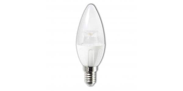 Bombilla LED Vela E14 C37 4W Transparente. Ángulo 280º. Blanco Frío.