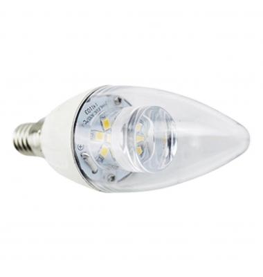 Bombilla LED Vela E14 C37 4W Transparente. Ángulo 280º. Blanco Frío