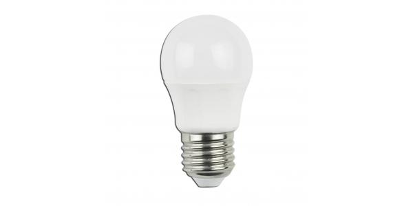 Bombilla LED E27 G45 4W. Ángulo 230º. Blanco Cálido