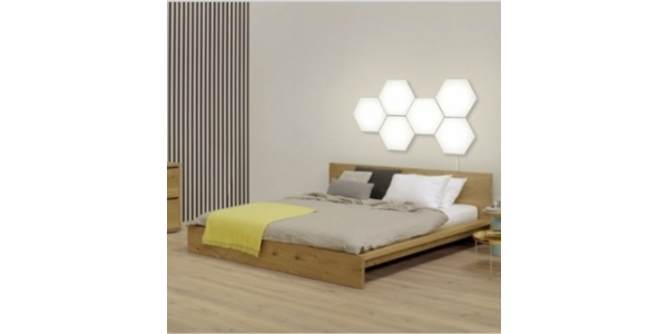 Panel LED Hexagonal Extensión 2.9W Puzzle. Luz Natural. Marco Blanco