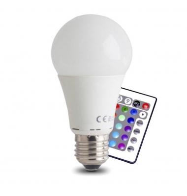Bombilla RGB E27 Estándar 3W + 7W Luz Cálida. Ángulo 270º
