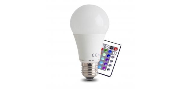 Bombilla LED E27, 10W, RGB + Blanco Cálido Ángulo 270º, Con Mando a Distancia