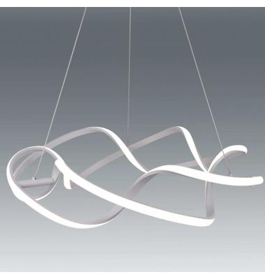 Lámpara Colgante Moderna COLISEUM LED 47W. Blanco Natural. Acabado Plata