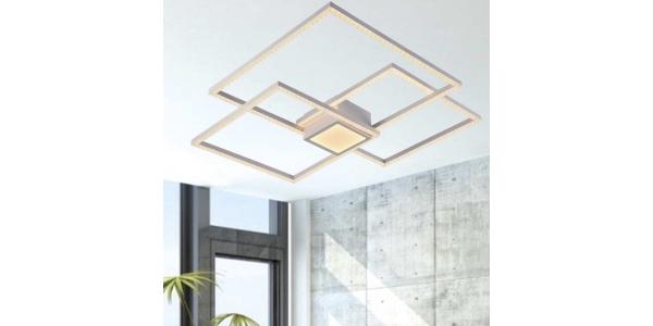 Plafón Diseño Glitter LED 52W. Con Mando CCT. Acabado Blanco Roto