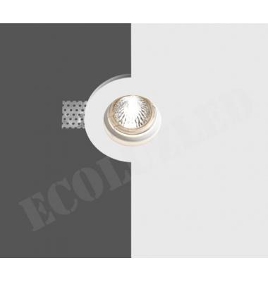 Foco Yeso Redondo LED Disco. Sistema Bombilla LED GU10