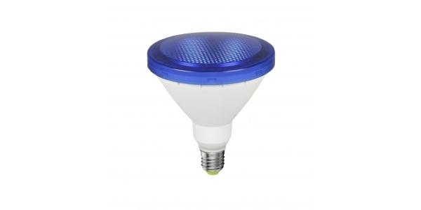 Bombilla LED E27, PAR38, 12W, Azul, Ángulo 120º