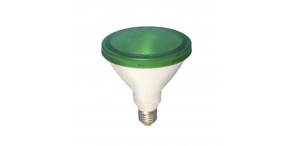 Bombilla LED E27, PAR38, 12W, Verde, Ángulo 120º